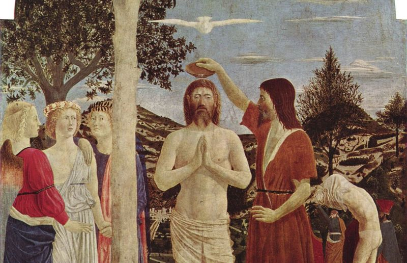 Piero della Francesca, 1446-50, Taufe Christi, Holz, 168 x 116 cm, um London, National Gallery